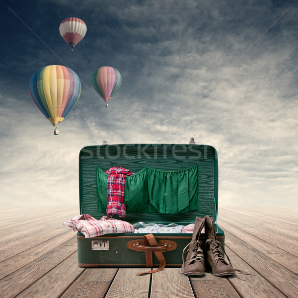 Explorer's vintage suitcase Stock photo © stokkete