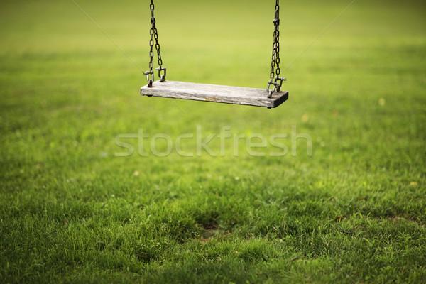Swing impiccagione giardino primavera erba legno Foto d'archivio © stokkete
