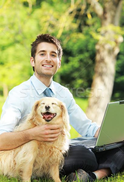 Mejor amigo jóvenes hombre de negocios ordenador estudiante verano Foto stock © stokkete