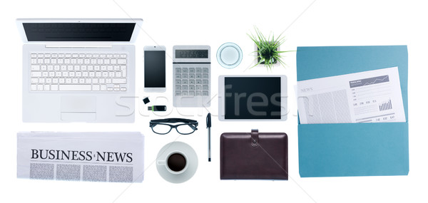 Business Desktop Smartphone Papierkram News Stock foto © stokkete