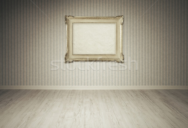 Vintage picture frame on a empty room Stock photo © stokkete