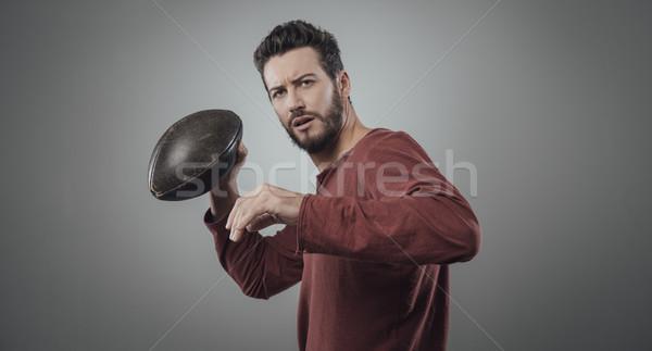 Vonzó fiatal játékos futballista játszik labda Stock fotó © stokkete