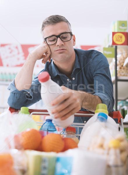 悲しい 男 食料品 ショッピング 疲れ スーパーマーケット ストックフォト © stokkete