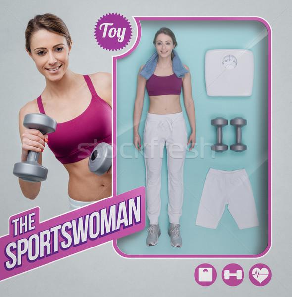 Sportlerin Puppe Spielzeug sehen Verpackung Zubehör Stock foto © stokkete