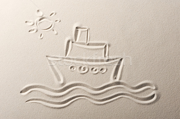 Beach background , drawing of a cruise liner Stock photo © stokkete