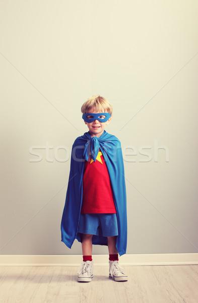Küçük süper kahraman düşler eğlence portre Stok fotoğraf © stokkete