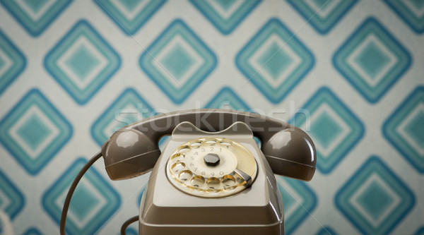 Vintage telephone on diamond wallpaper Stock photo © stokkete