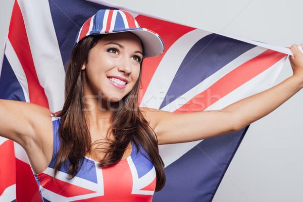Vrolijk Engels meisje vlag cute Stockfoto © stokkete