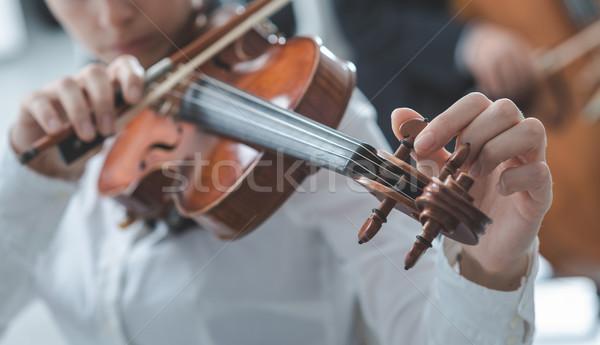 Violist tuning viool vrouw cello speler Stockfoto © stokkete