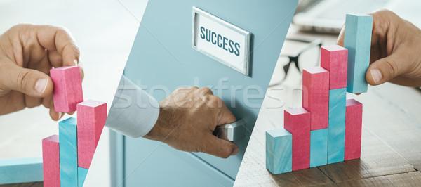 Sikeres üzlet terv üzletember épület növekvő Stock fotó © stokkete