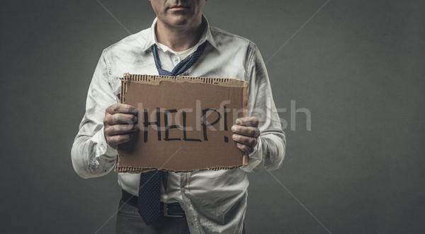 állásnélküli üzletember tart karton felirat kétségbeesett Stock fotó © stokkete