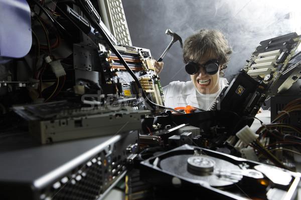 ума работник Crazy компьютер техник ремонта Сток-фото © stokkete