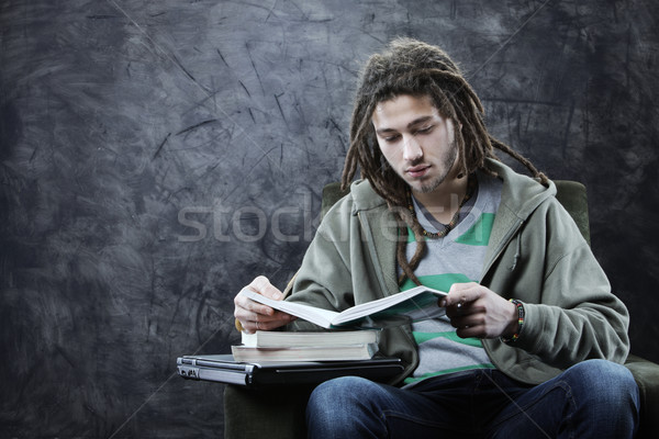Student portret młody człowiek czytania książki książek Zdjęcia stock © stokkete