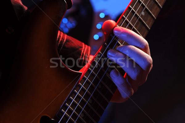 Guitarrista rocha guitarrista mão música Foto stock © stokkete