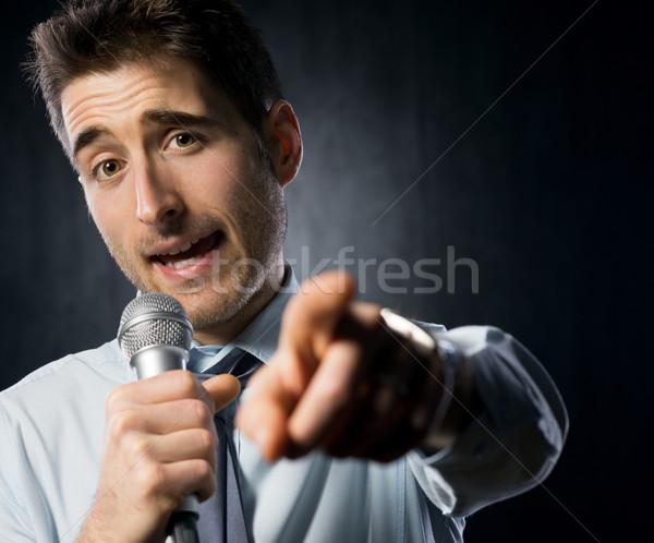 Konuşmacı adam konuşma mikrofon işadamı Stok fotoğraf © stokkete