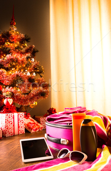 Christmas sun holidays with tablet Stock photo © stokkete