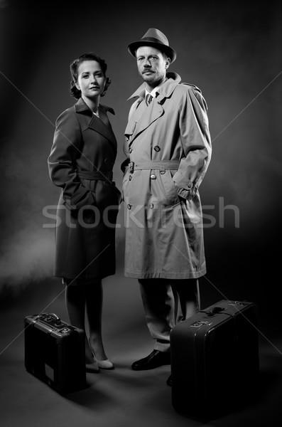 Foto stock: Filme · elegante · casal · pronto · bagagem