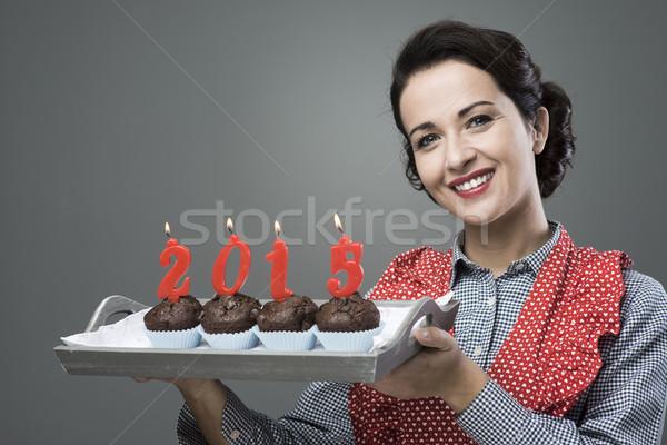 Szczęśliwego nowego roku 2015 vintage gospodyni domowa Zdjęcia stock © stokkete