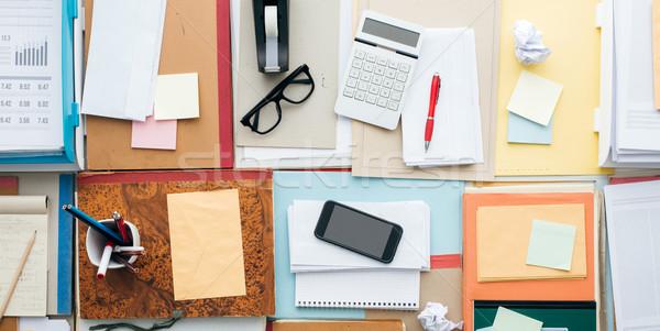 Tele üzlet asztali papírmunka tárgyak produktivitás Stock fotó © stokkete