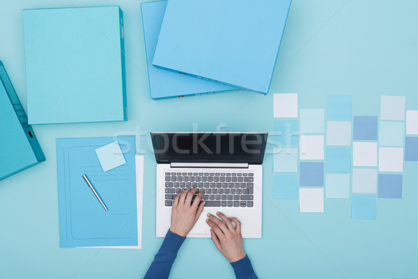 Monochrome workspace with laptop Stock photo © stokkete