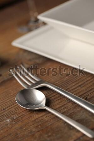 столовое серебро обеденный стол Сток-фото © stokkete