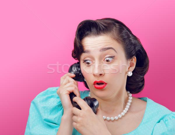 Meglepődött klasszikus nő beszél telefon Stock fotó © stokkete