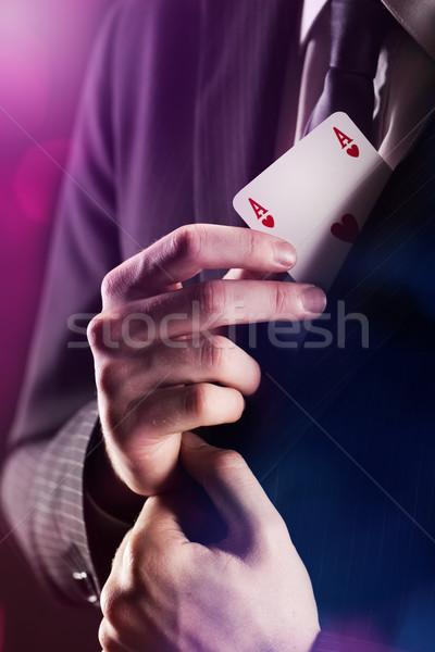 Bűvész ász kártya rejtett kabát kezek Stock fotó © stokkete