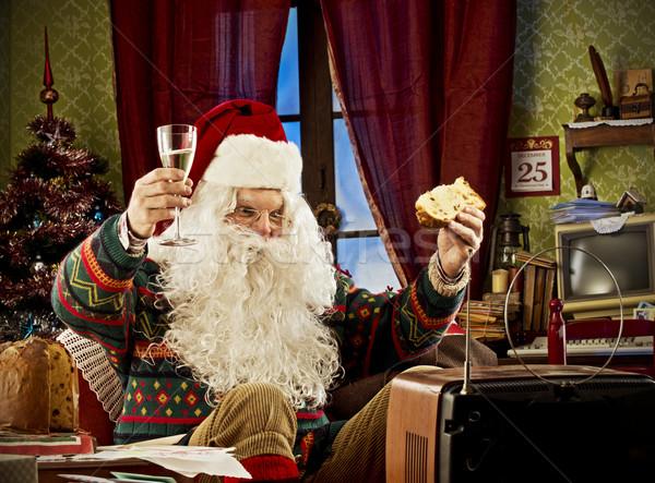 サンタクロース 肖像 を見て テレビ 祝う ガラス ストックフォト © stokkete