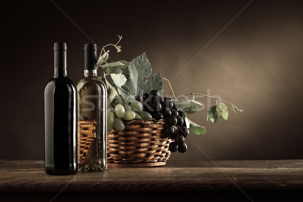 Stock photo: Wine tasting and fruit still life