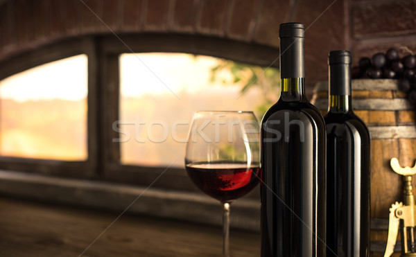 Red wine tasting in the winery cellar Stock photo © stokkete