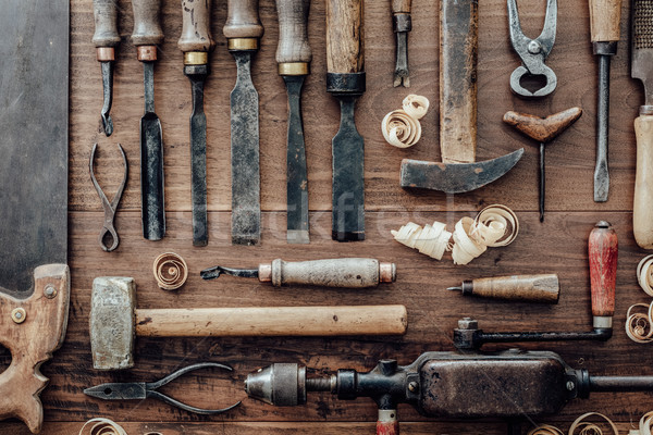 Vintage woodworking tools on the workbench Stock photo © stokkete