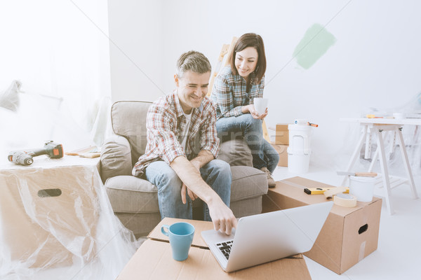 Couple moving into their new house Stock photo © stokkete