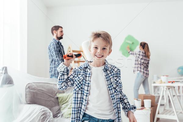 Family renovating their new apartment Stock photo © stokkete