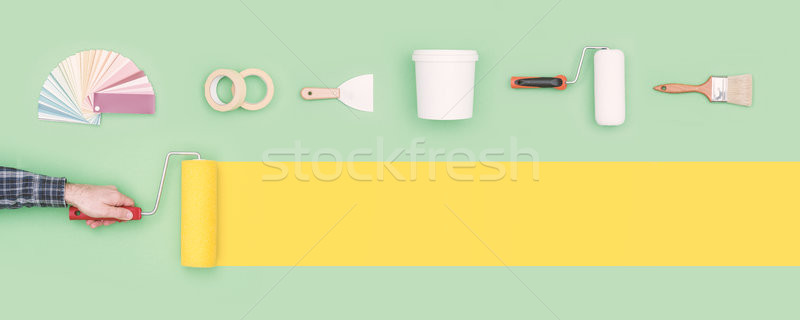 Csináld magad iparművészet férfi festmény csík festék Stock fotó © stokkete