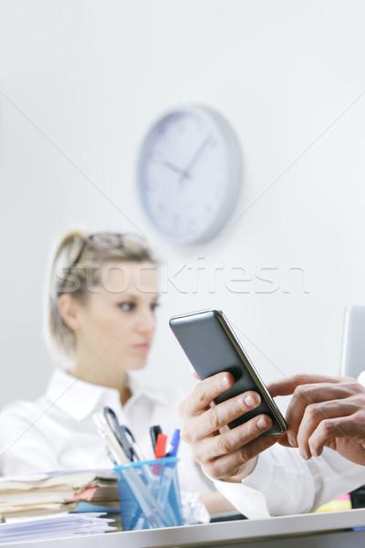 Işadamı ofis eller iş kadını Stok fotoğraf © stokkete