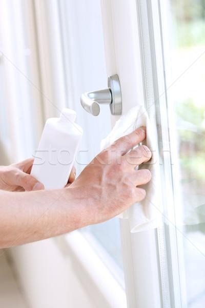 Otthon takarítás férfi ablakok mosószer ház Stock fotó © stokkete