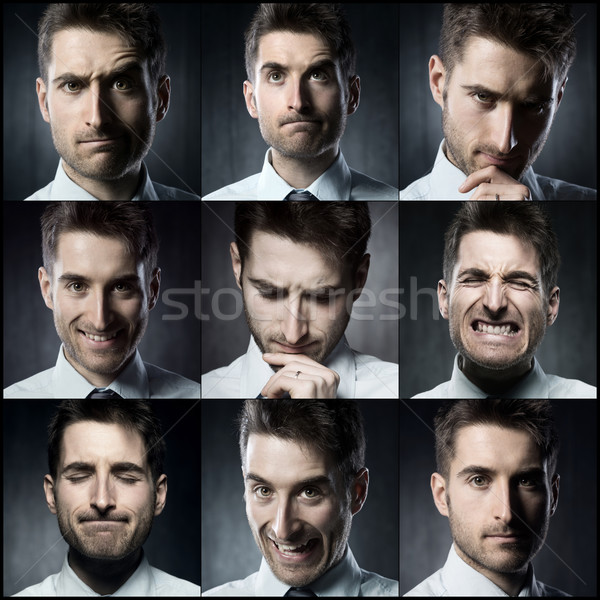 Empresário retratos jovem colagem Foto stock © stokkete
