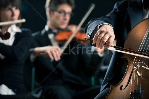 Symphony orchestra: cello player close-up Stock photo © stokkete