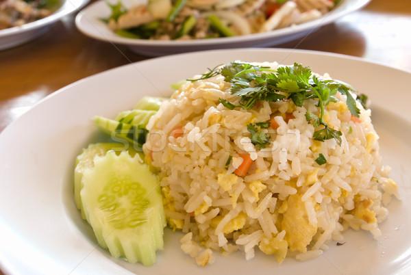 タイ料理 フライド コメ クローズアップ 緑 プレート ストックフォト © stoonn
