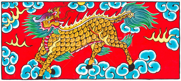 Traditional Thai style painting art Horse head Dragon   Stock photo © stoonn