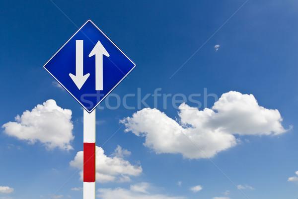 Foto stock: Estrada · sinaleiro · blue · sky · céu · assinar · azul