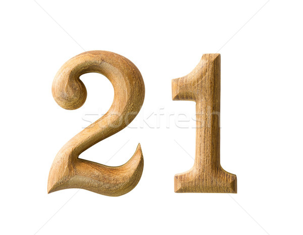 Wooden numeric 21 Stock photo © stoonn