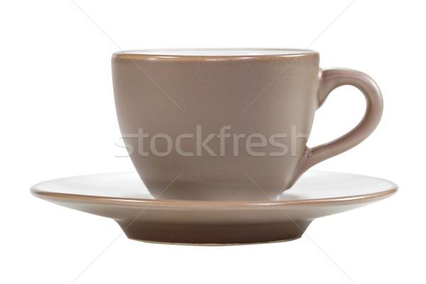 Barna kávéscsésze csészealj fehér vágási körvonal kávézó Stock fotó © stoonn