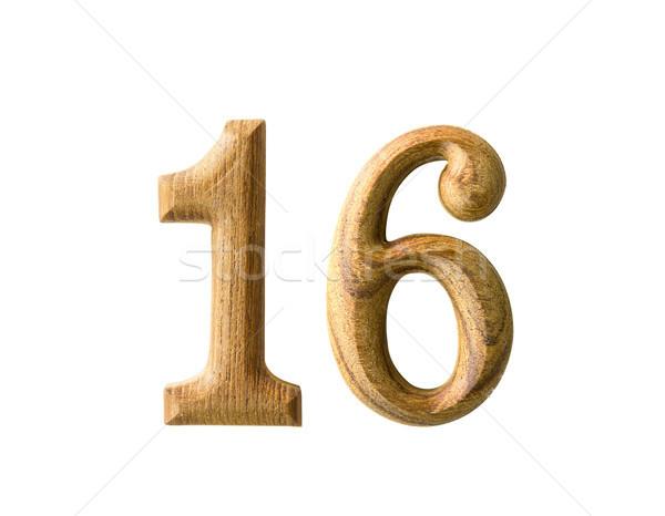 Houten numeriek 16 mooie schaduw witte Stockfoto © stoonn
