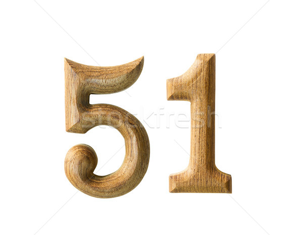 Wooden numeric 51 Stock photo © stoonn