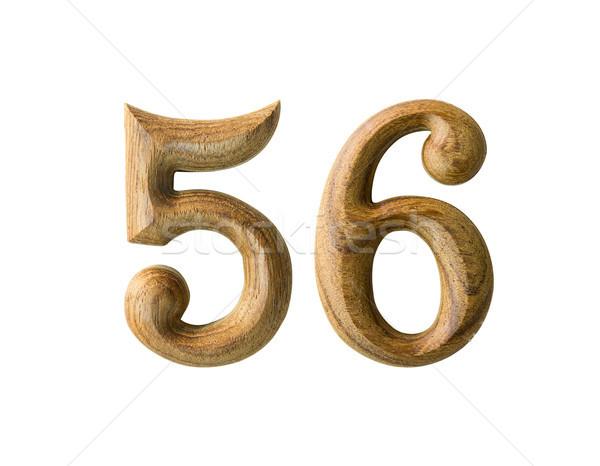 Houten numeriek mooie geïsoleerd witte abstract Stockfoto © stoonn