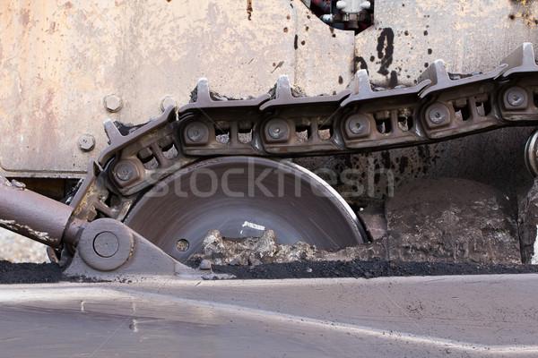 Közelkép buldózer építkezés útvonal munka Föld Stock fotó © stoonn