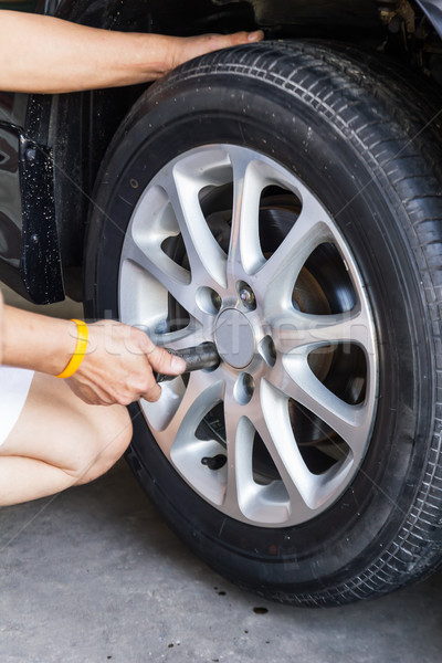 Car wheel changing Stock photo © stoonn