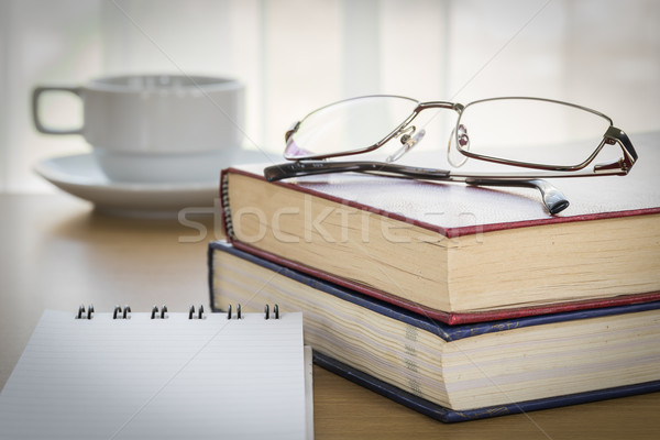 Pen put on notepad open blank page Stock photo © stoonn
