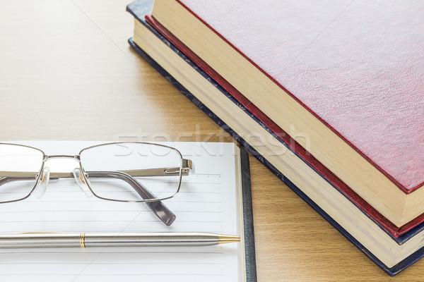 очки ноутбук открытых пустая страница бумаги Сток-фото © stoonn